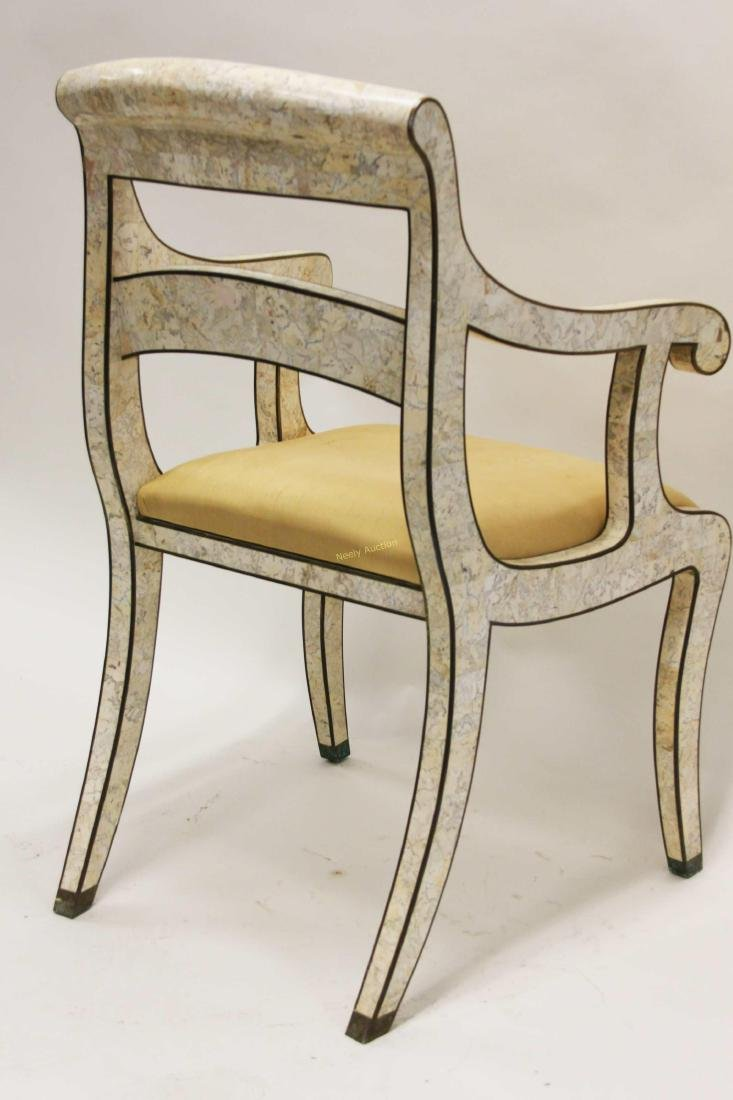 Maitland Smith Regency Marble & Brass Accent Chair - 5