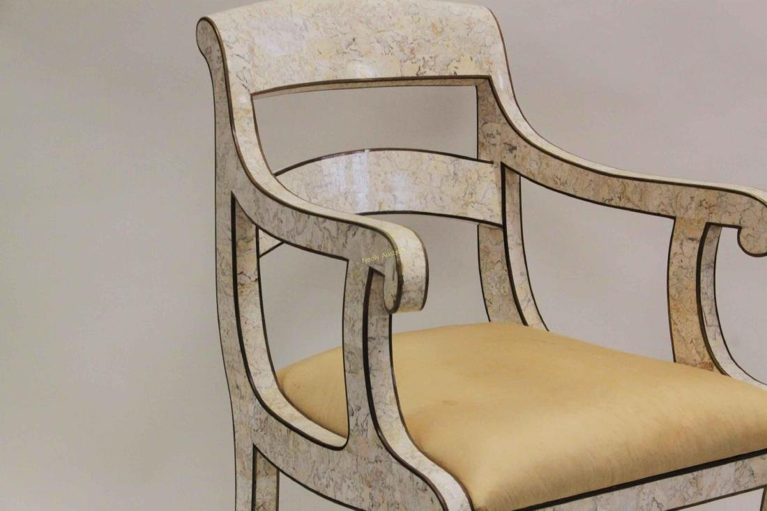 Maitland Smith Regency Marble & Brass Accent Chair - 9