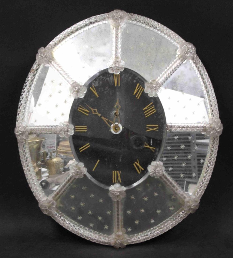 Hollywood Regency Venetian Mirror w Clock Face