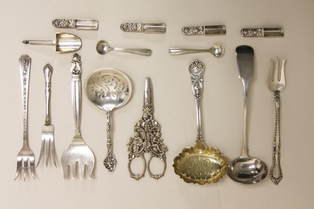 (15) Sterling Serving Forks, Ladles & Grape Shears