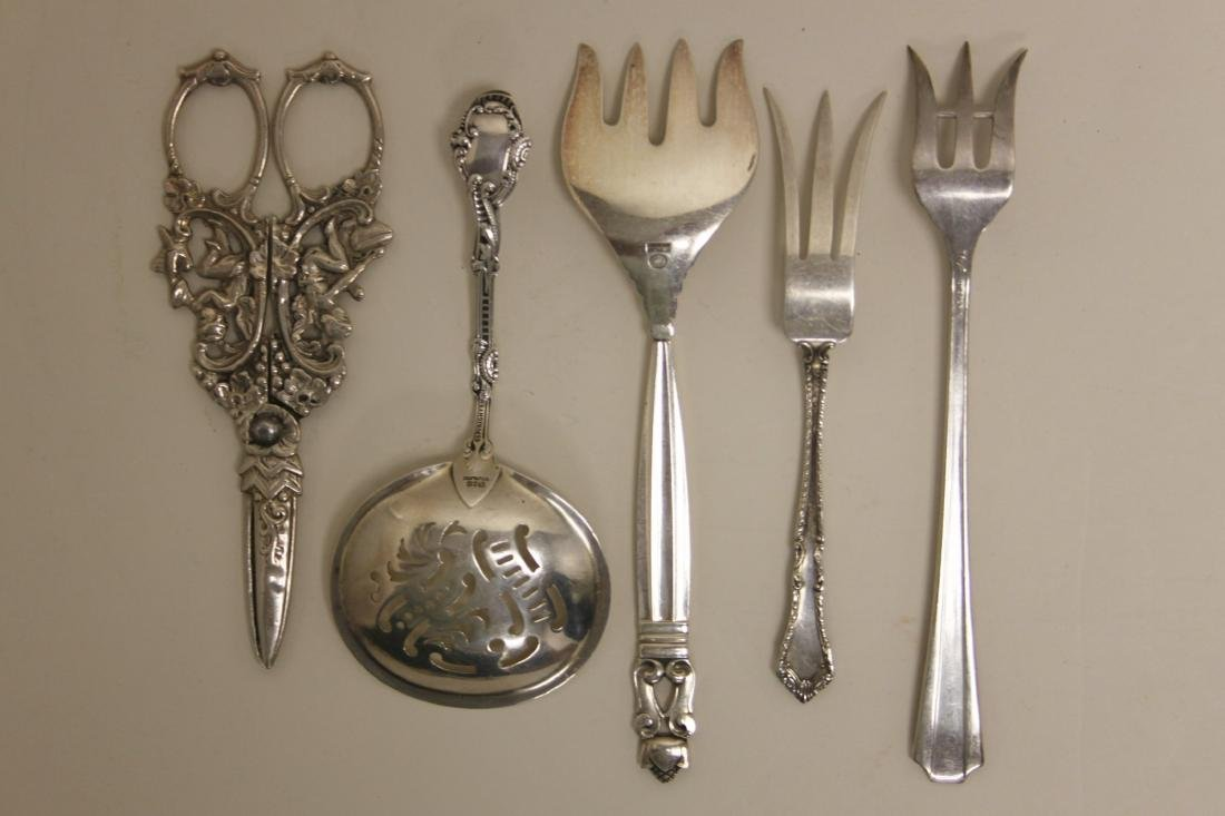 (15) Sterling Serving Forks, Ladles & Grape Shears - 2