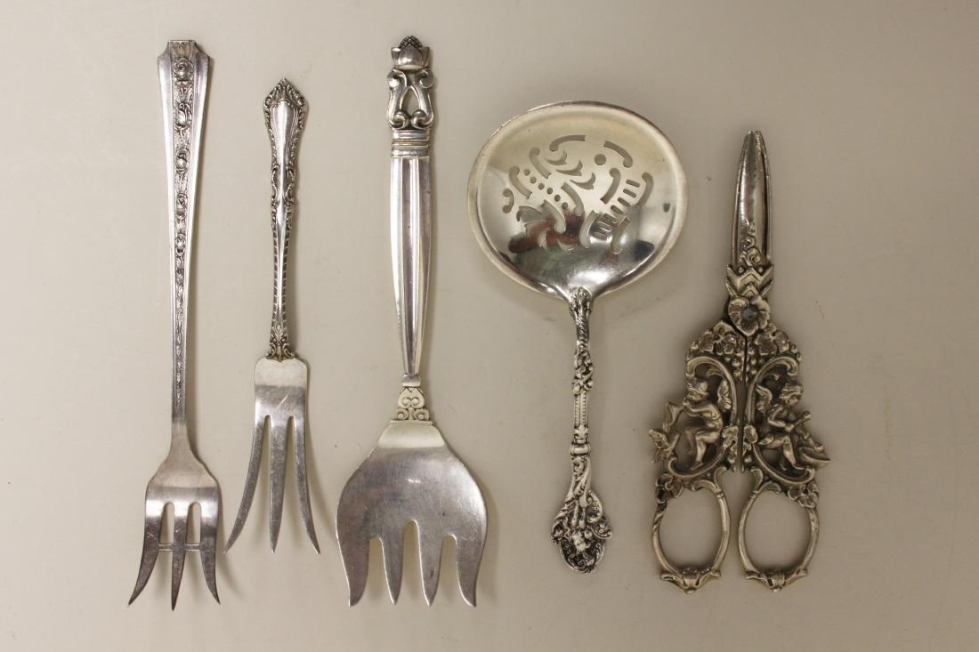 (15) Sterling Serving Forks, Ladles & Grape Shears - 3