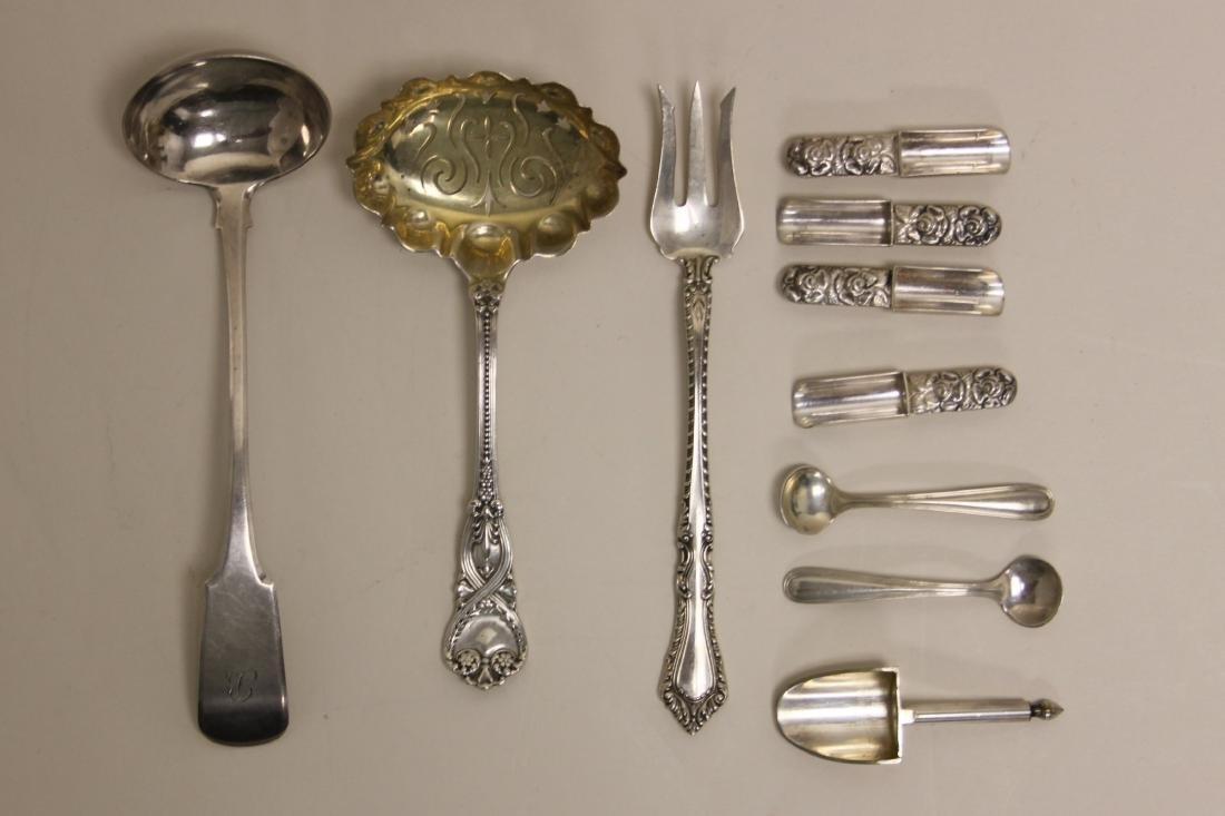 (15) Sterling Serving Forks, Ladles & Grape Shears - 4