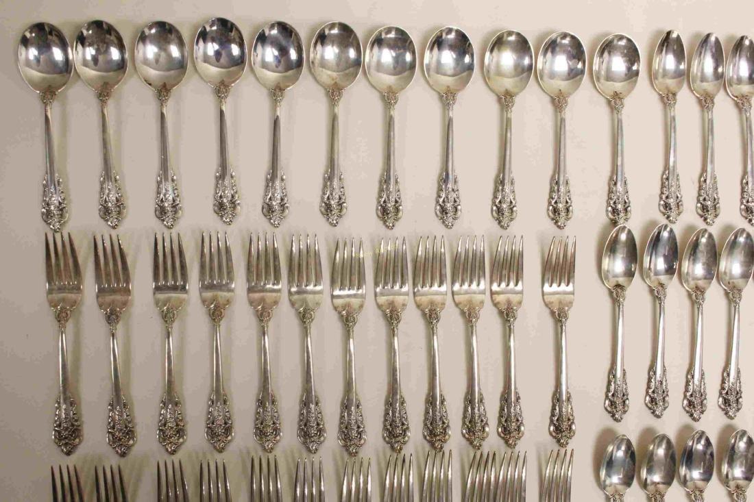 70 Pc Wallace Grande Baroque Sterling Flatware Set - 4