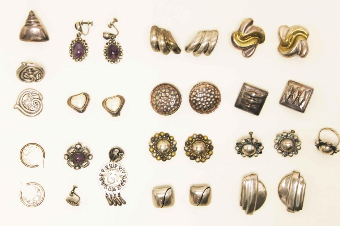 (28) Vintage Mexican 925 Sterling Clip-on Earrings