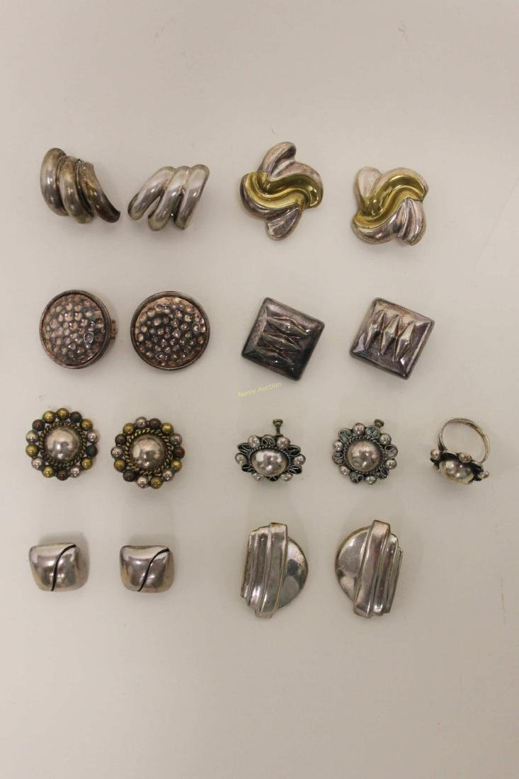 (28) Vintage Mexican 925 Sterling Clip-on Earrings - 4