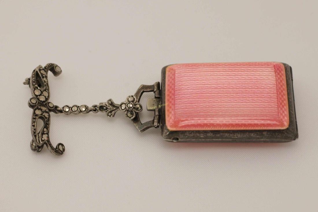 Eterna Sterling & Enamel Pendant Watch w Lapel Pin