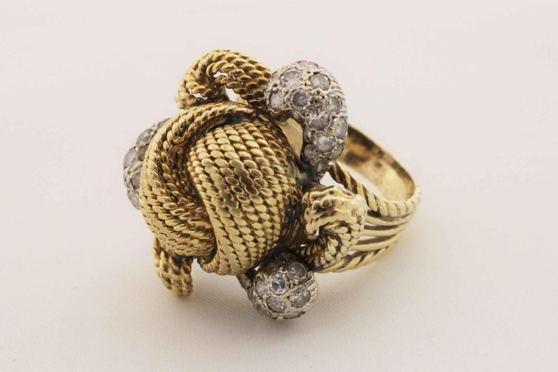 Vintage 14k Gold & Diamond Rope Cut Cocktail Ring