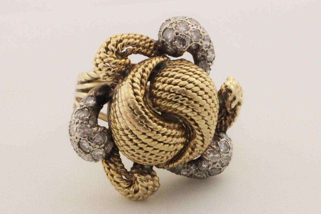 Vintage 14k Gold & Diamond Rope Cut Cocktail Ring - 2