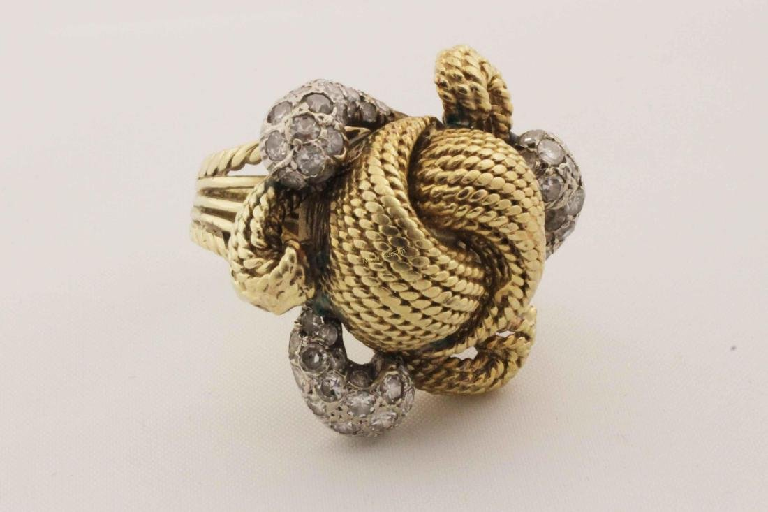 Vintage 14k Gold & Diamond Rope Cut Cocktail Ring - 3