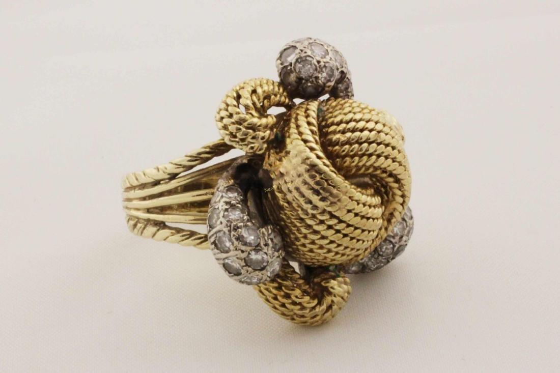 Vintage 14k Gold & Diamond Rope Cut Cocktail Ring - 4