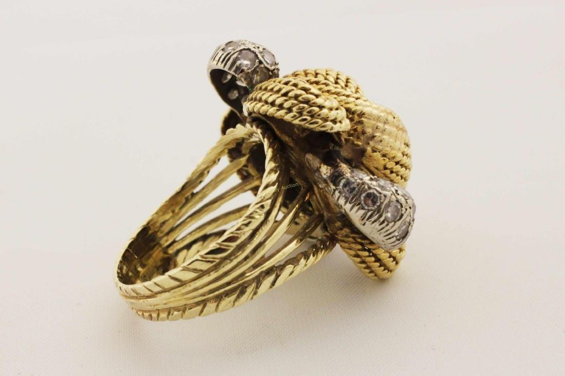 Vintage 14k Gold & Diamond Rope Cut Cocktail Ring - 5