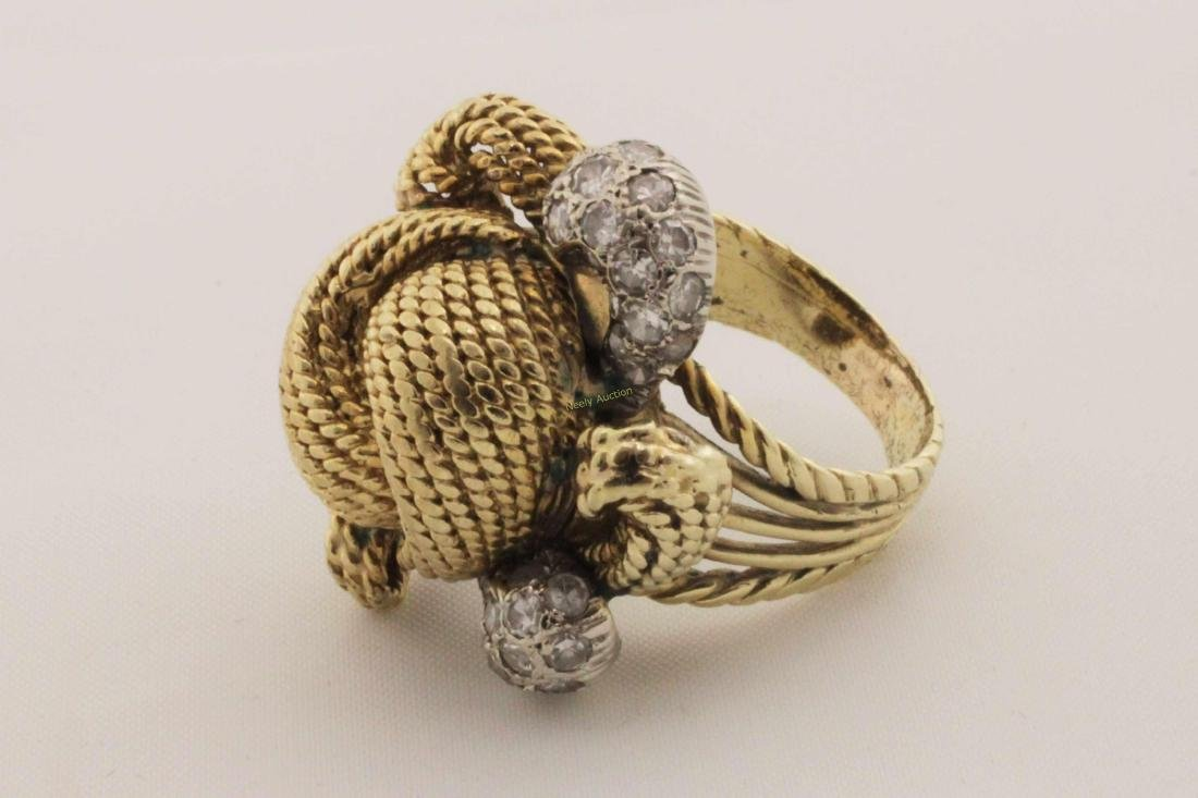Vintage 14k Gold & Diamond Rope Cut Cocktail Ring - 6
