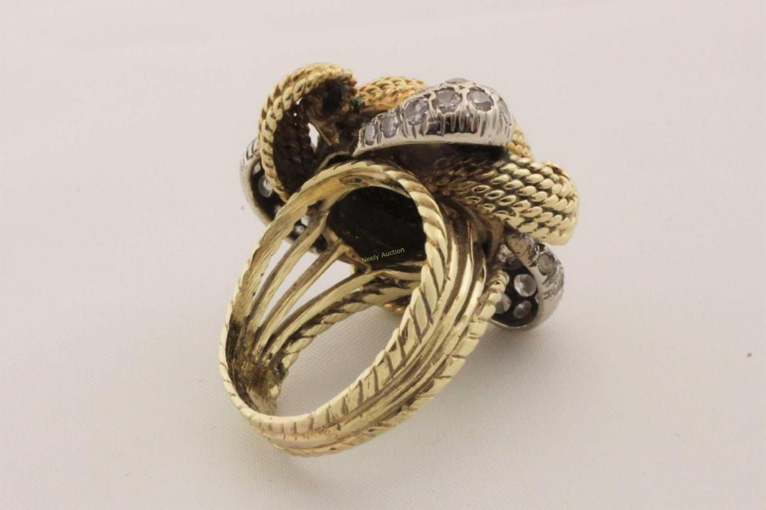 Vintage 14k Gold & Diamond Rope Cut Cocktail Ring - 7
