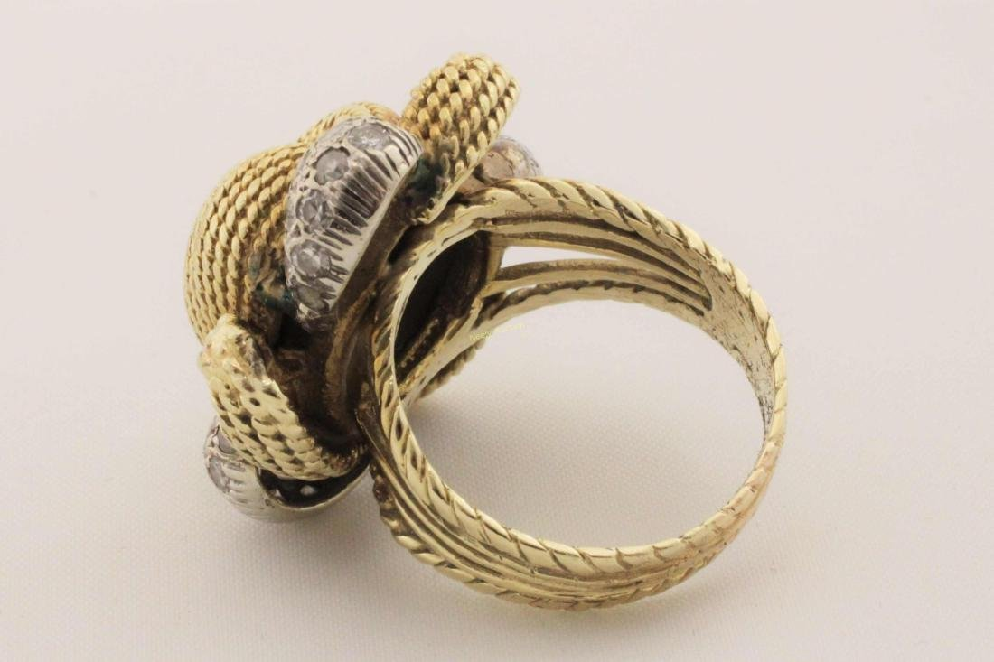 Vintage 14k Gold & Diamond Rope Cut Cocktail Ring - 8