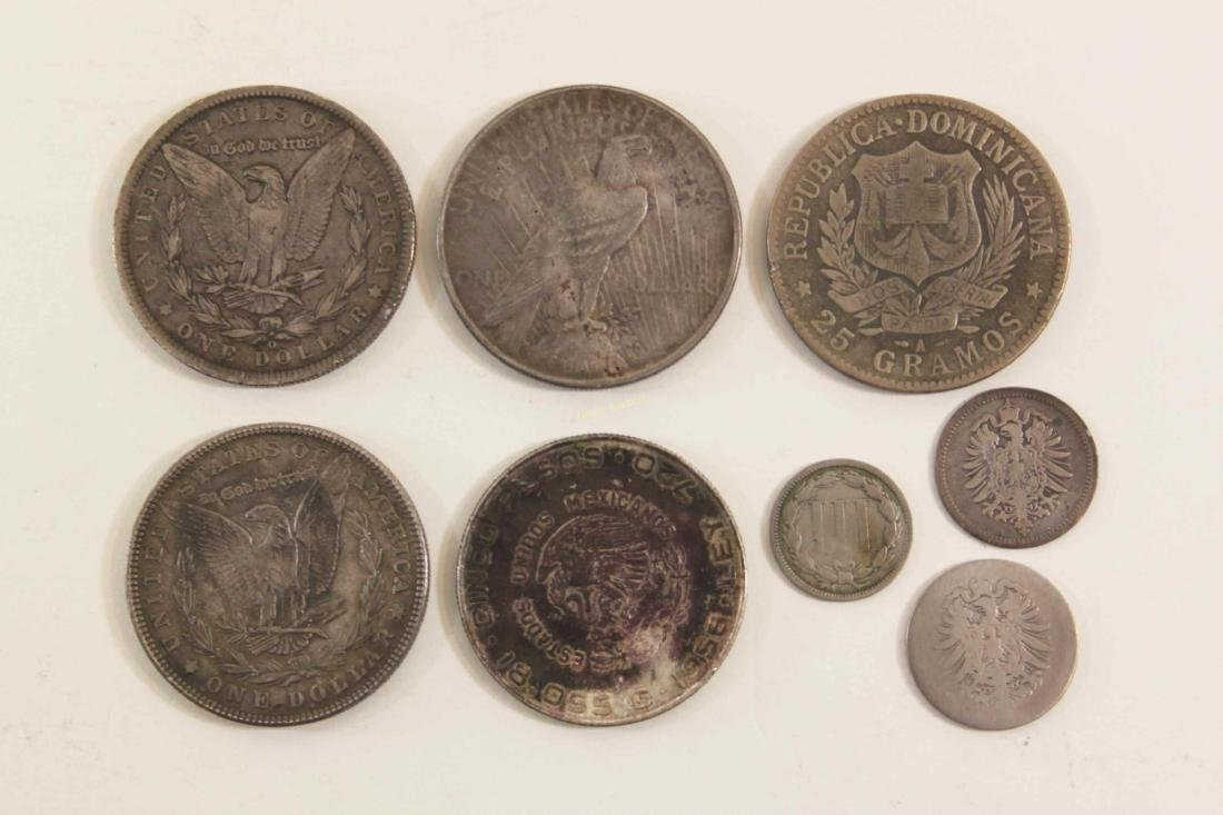 (8) Silver Coins (2) Morgan, Peace Dollar Foreign - 2