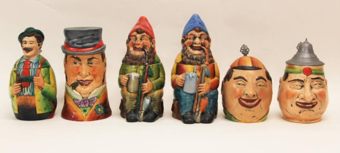 6 Eckhardt & Engler Stoneware Character Beer Stein