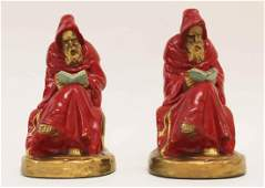 Pair Reading Monk Bookends Mfg by Armor Bronze Co