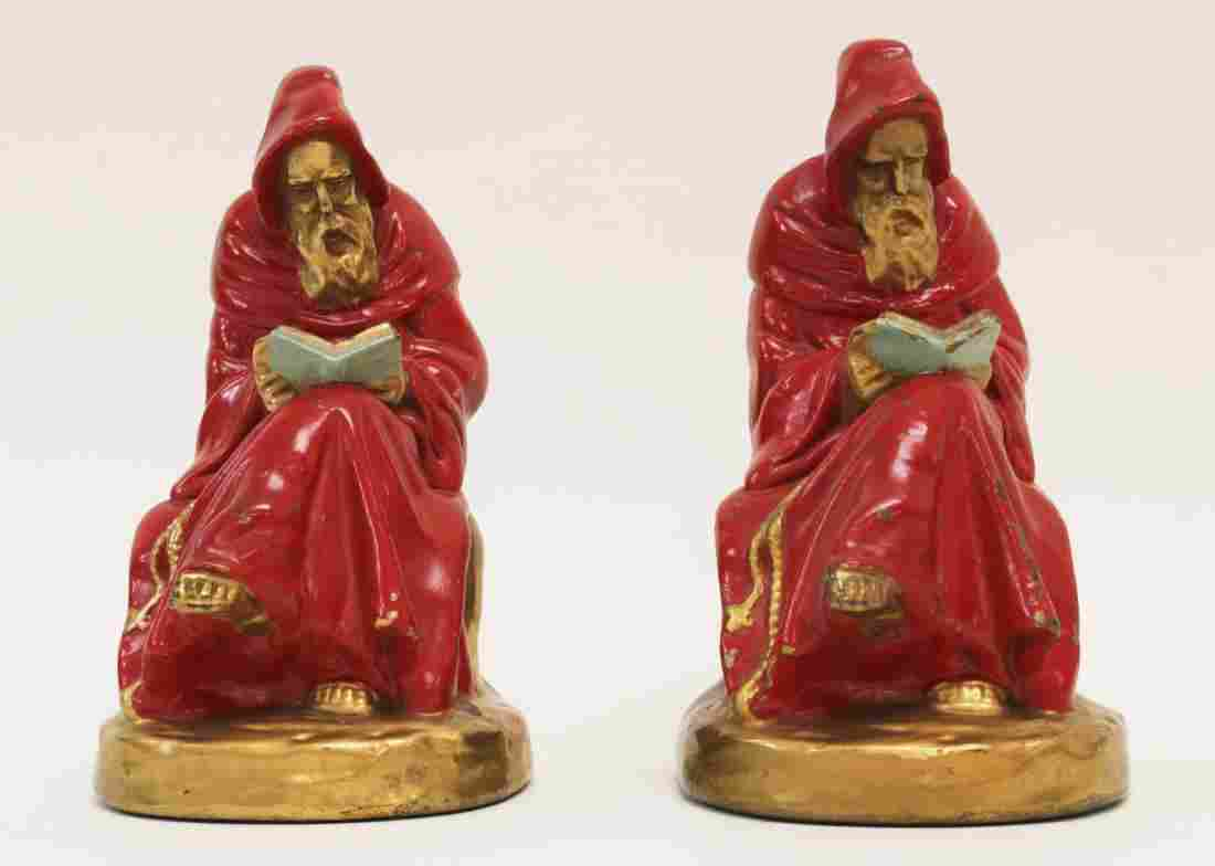 Pair Reading Monk Bookends Mfg by Armor Bronze Co.