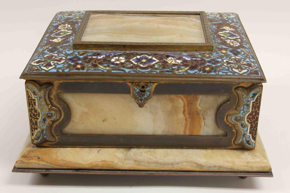19c French Bronze Champleve & Onyx Jewelry Box