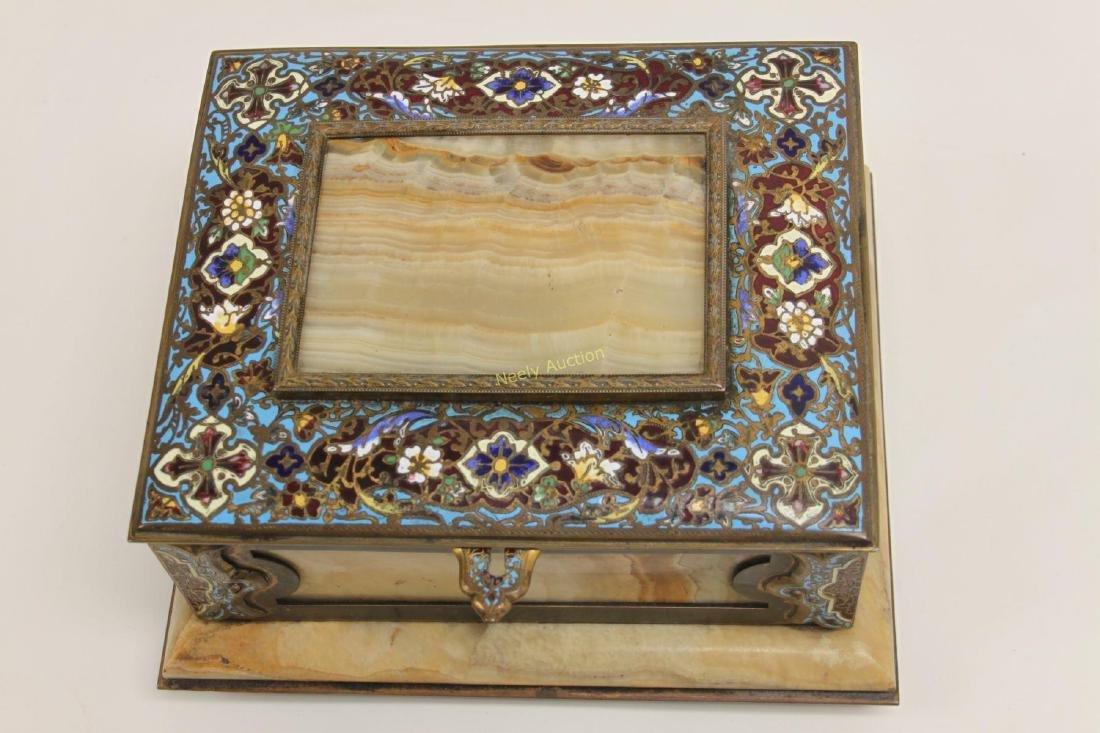 19c French Bronze Champleve & Onyx Jewelry Box - 2