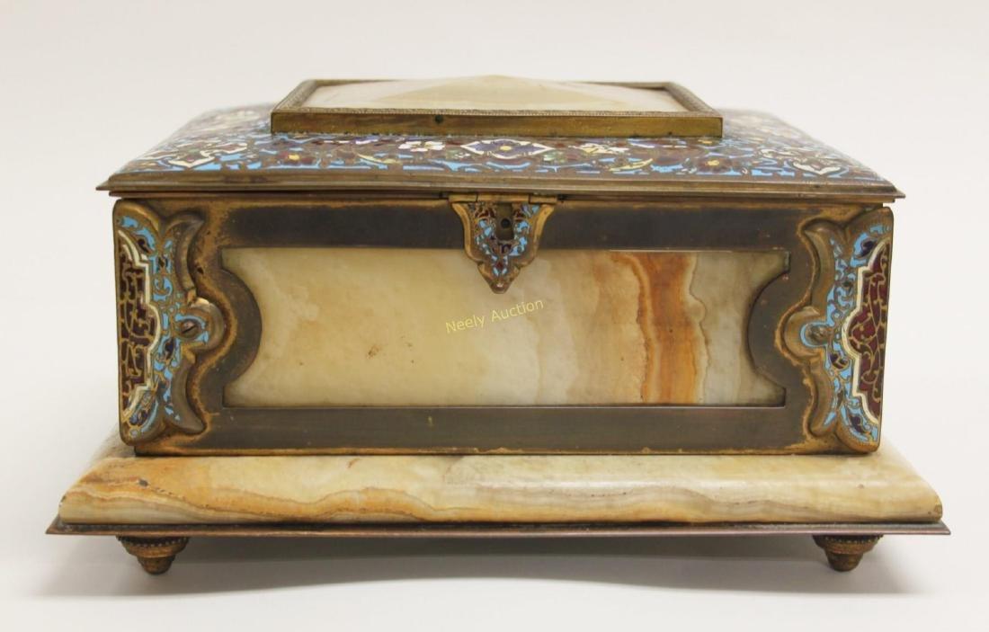 19c French Bronze Champleve & Onyx Jewelry Box - 3