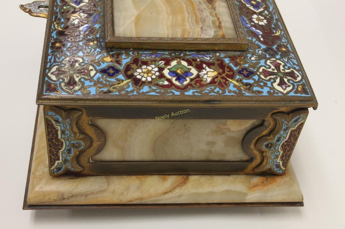19c French Bronze Champleve & Onyx Jewelry Box - 4