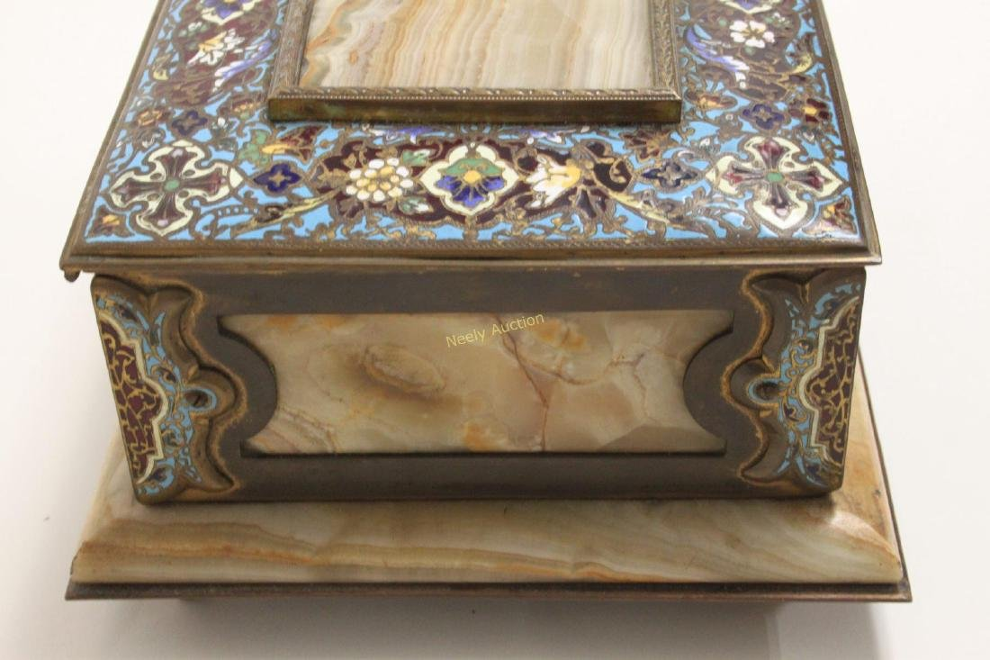 19c French Bronze Champleve & Onyx Jewelry Box - 5