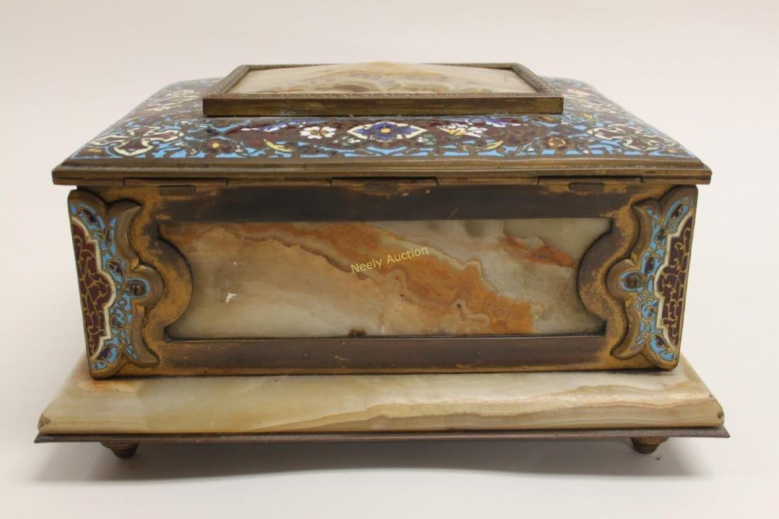 19c French Bronze Champleve & Onyx Jewelry Box - 6