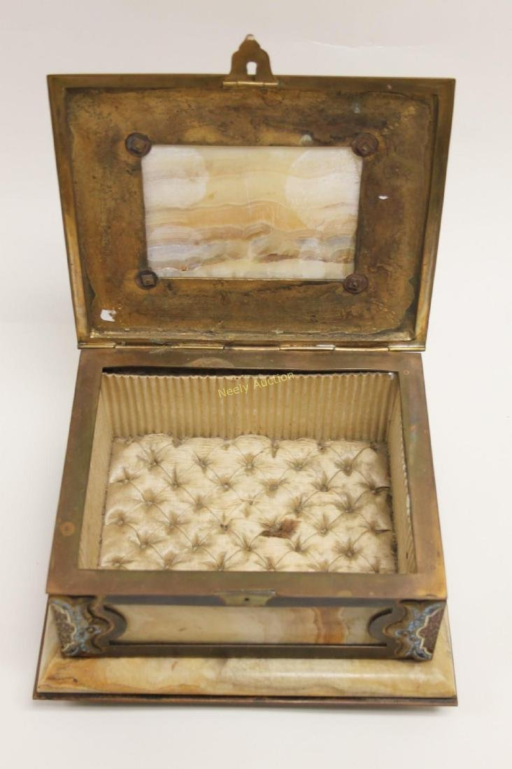 19c French Bronze Champleve & Onyx Jewelry Box - 7