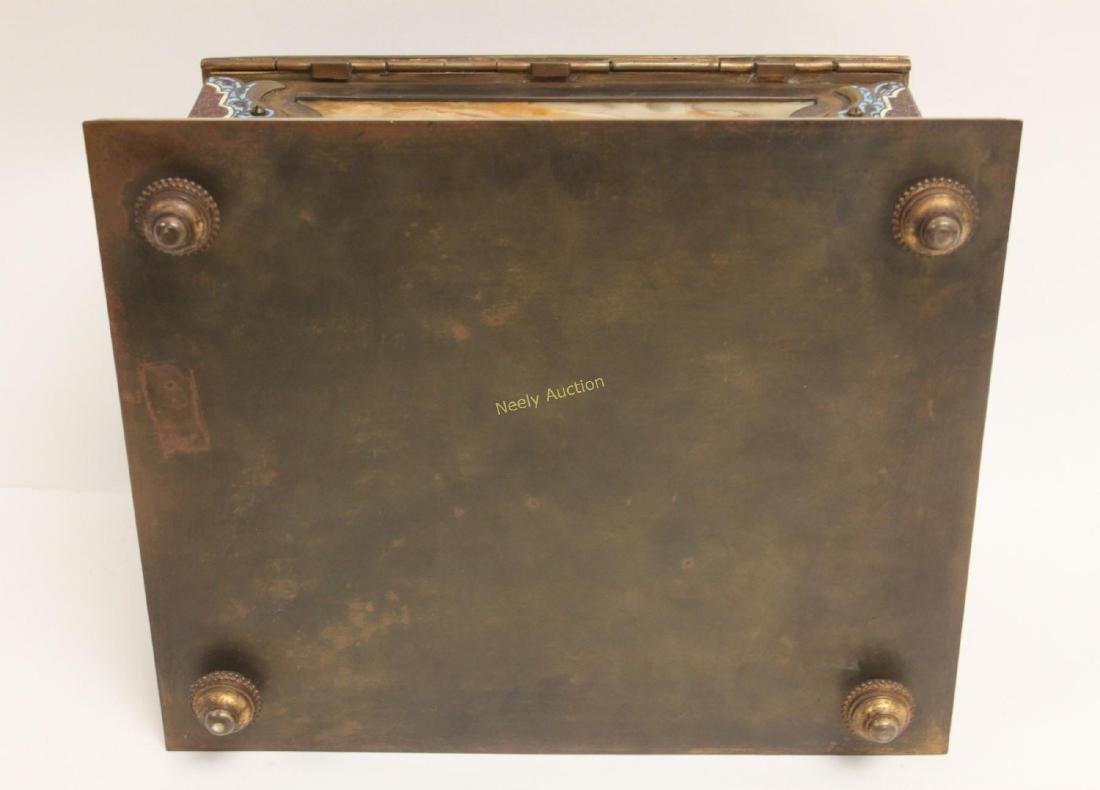 19c French Bronze Champleve & Onyx Jewelry Box - 8