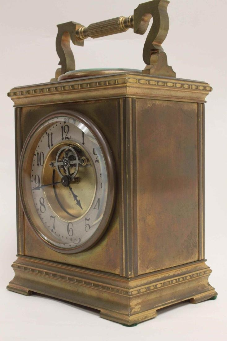 19c French Carriage Clock w Compass & Thermometer