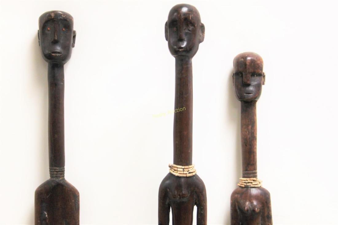 (3) Large African Wood Fertility Figure Sculptures - 5