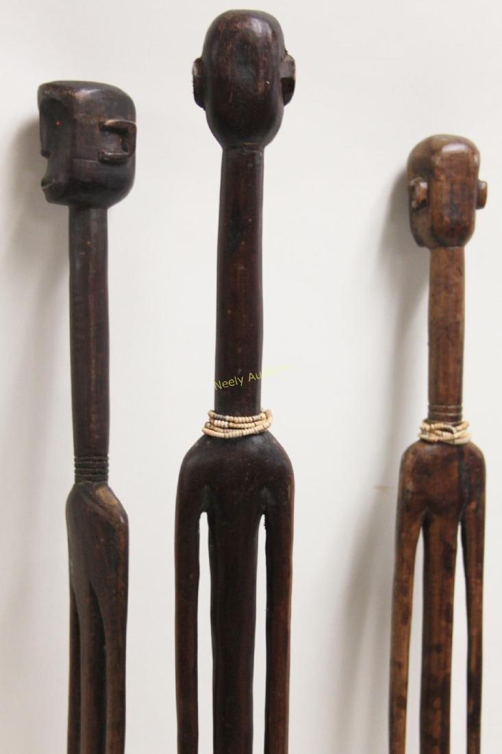 (3) Large African Wood Fertility Figure Sculptures - 8