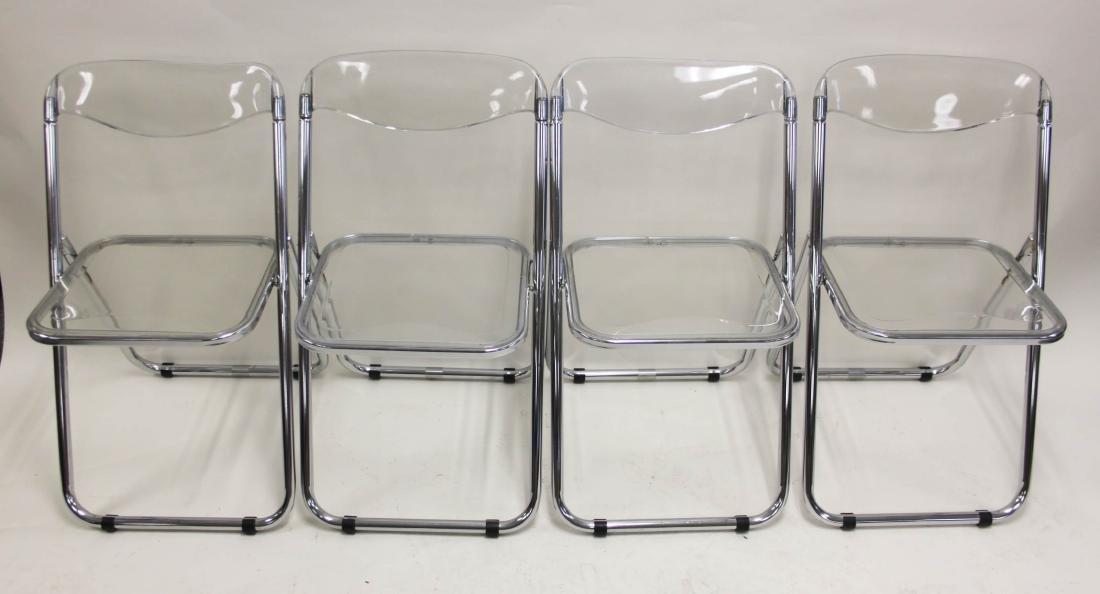 (4) Italian Lucite & Chrome Frame Folding Chairs