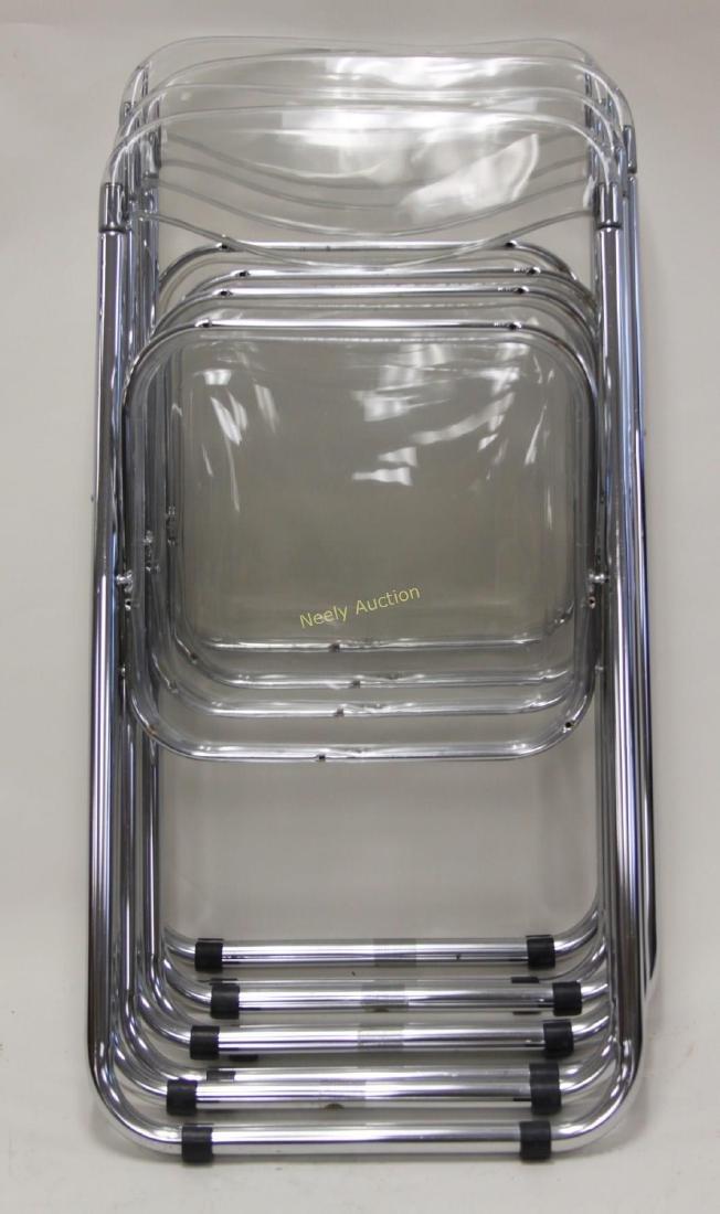 (4) Italian Lucite & Chrome Frame Folding Chairs - 4