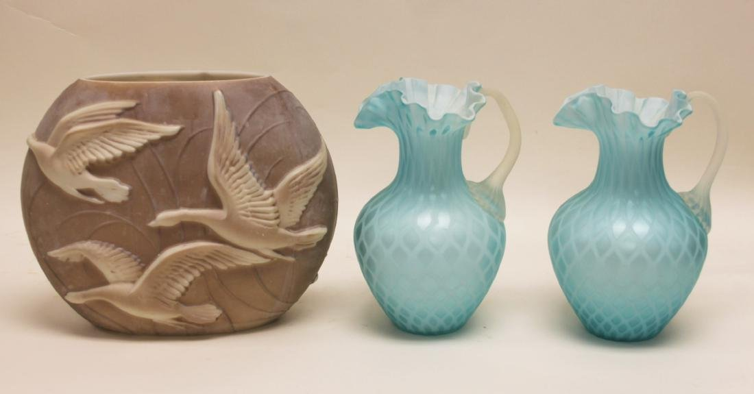 (2)pc Quilted Satin Glass & (1) Phoenix Glass Vase
