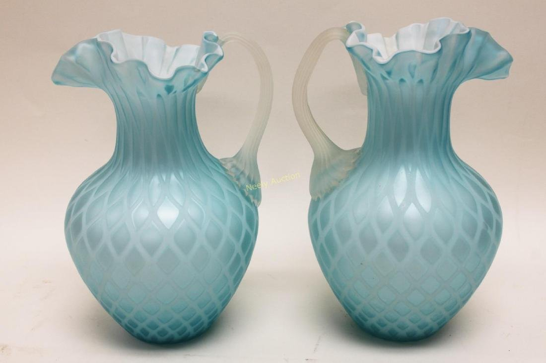 (2)pc Quilted Satin Glass & (1) Phoenix Glass Vase - 2