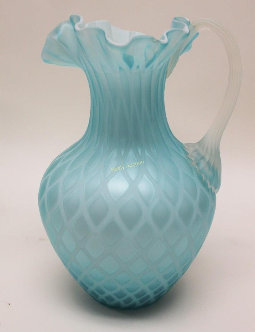 (2)pc Quilted Satin Glass & (1) Phoenix Glass Vase - 3
