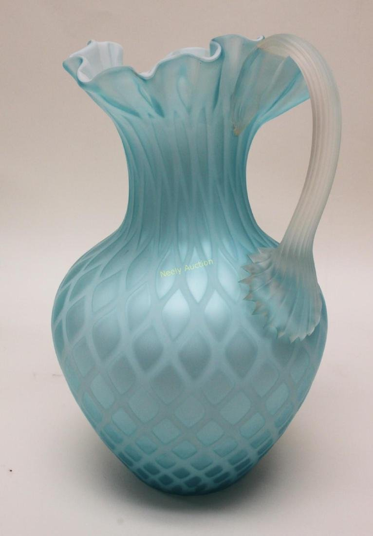 (2)pc Quilted Satin Glass & (1) Phoenix Glass Vase - 6