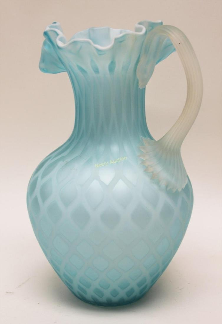 (2)pc Quilted Satin Glass & (1) Phoenix Glass Vase - 7