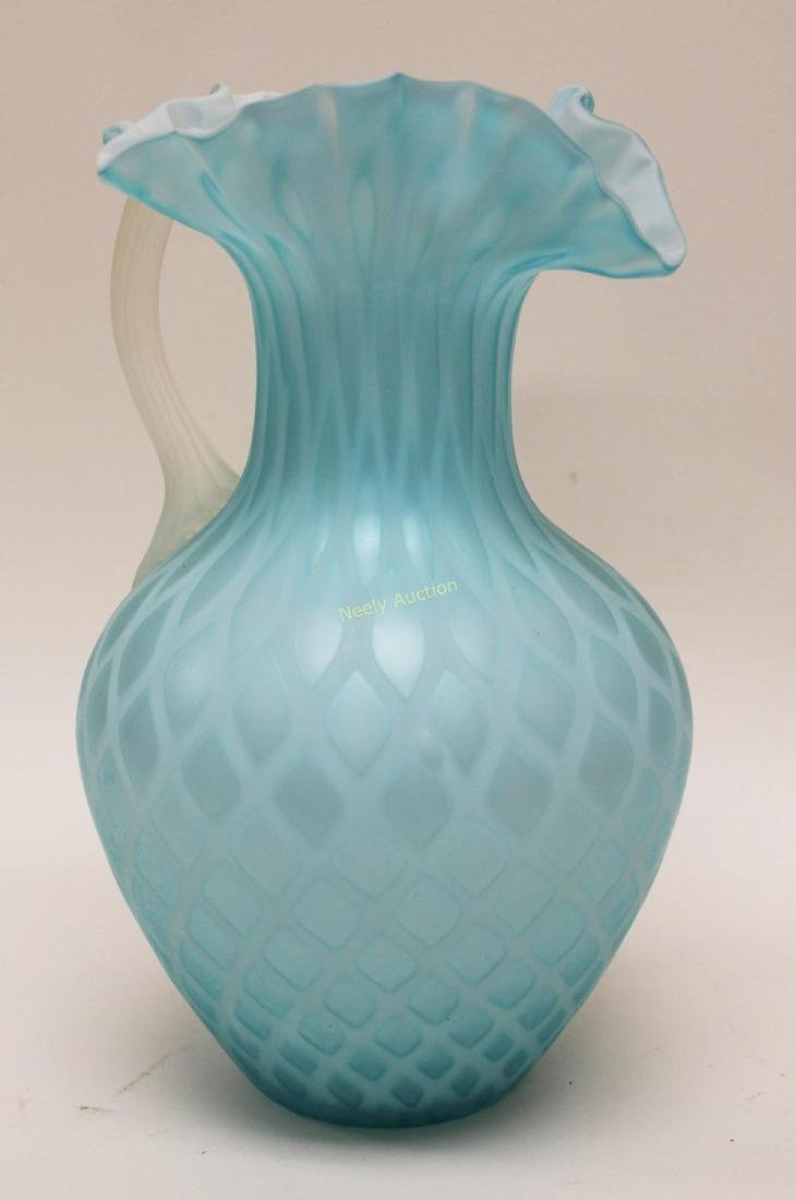 (2)pc Quilted Satin Glass & (1) Phoenix Glass Vase - 8