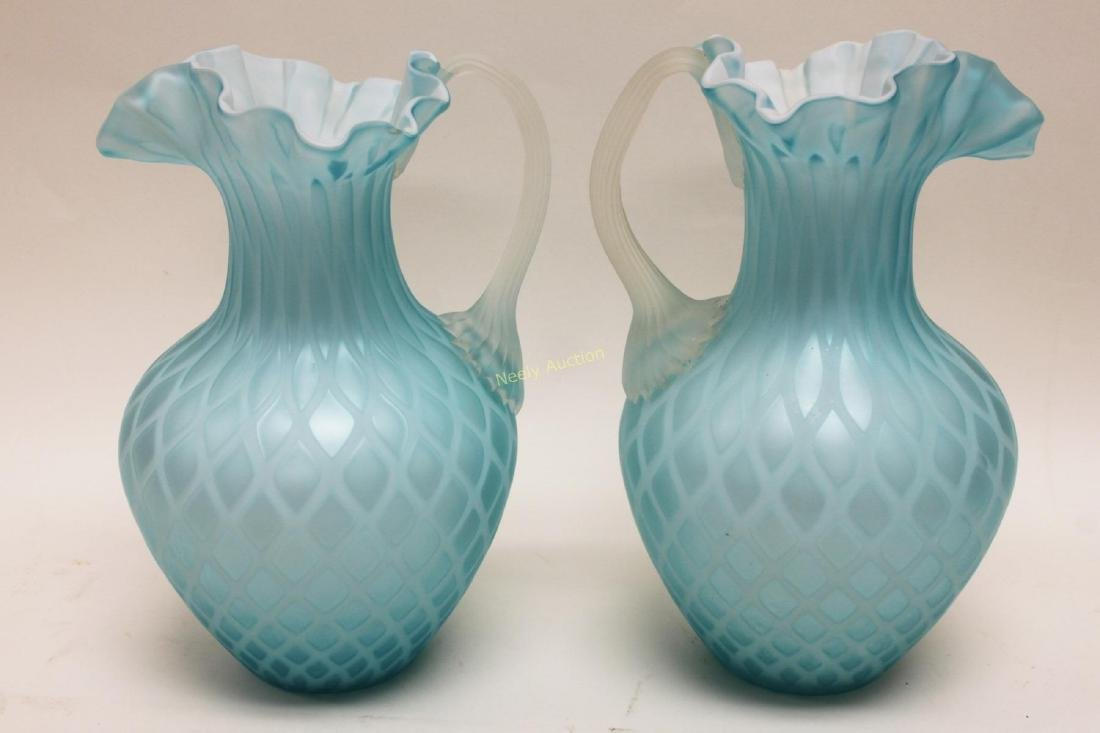 (2)pc Quilted Satin Glass & (1) Phoenix Glass Vase - 9