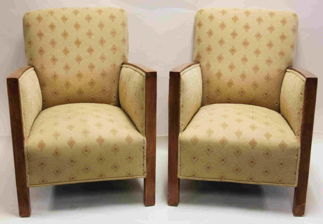Pair Art Deco Upholstered Wood Arm Club Chairs