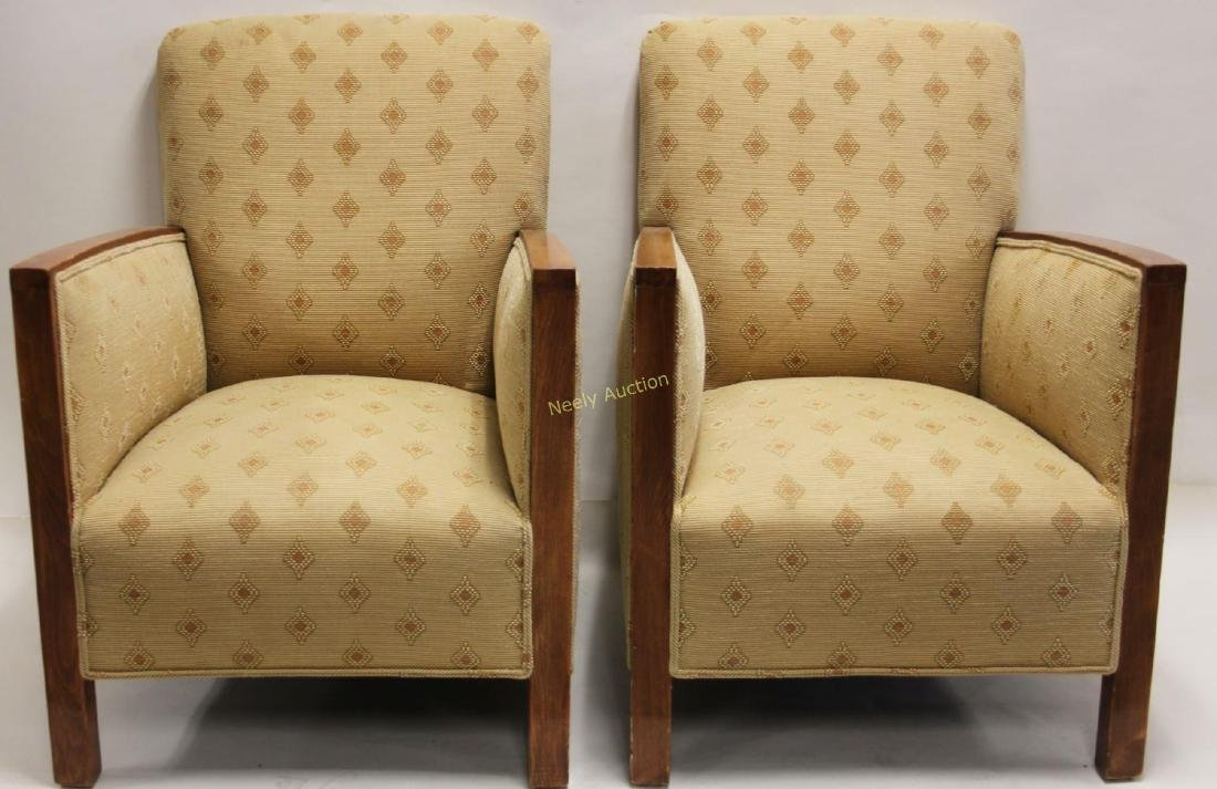 Pair Art Deco Upholstered Wood Arm Club Chairs - 2