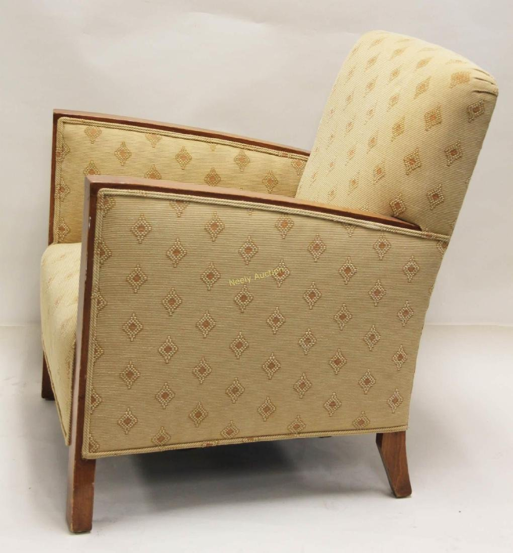 Pair Art Deco Upholstered Wood Arm Club Chairs - 4