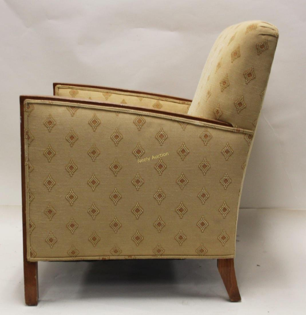 Pair Art Deco Upholstered Wood Arm Club Chairs - 5