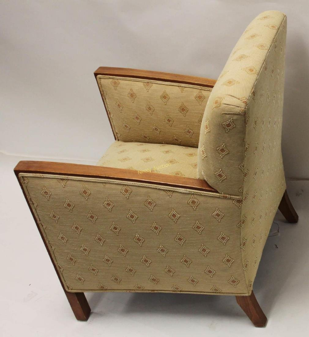 Pair Art Deco Upholstered Wood Arm Club Chairs - 6