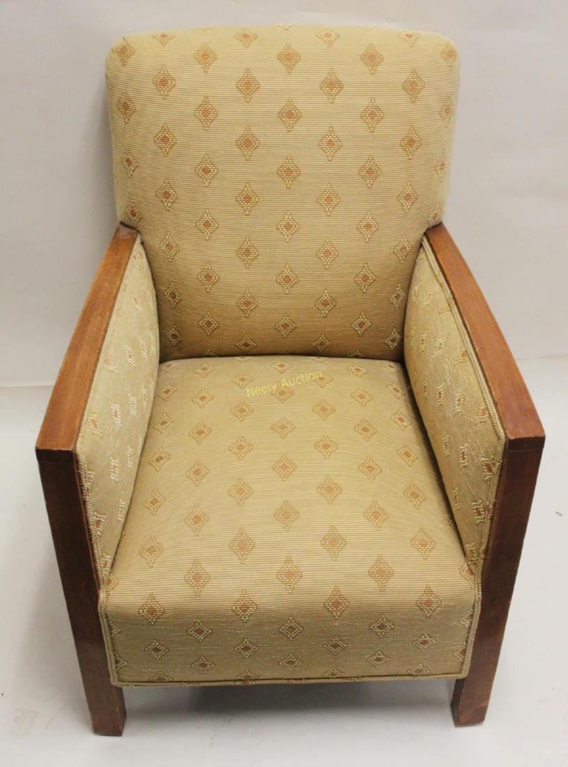 Pair Art Deco Upholstered Wood Arm Club Chairs - 7