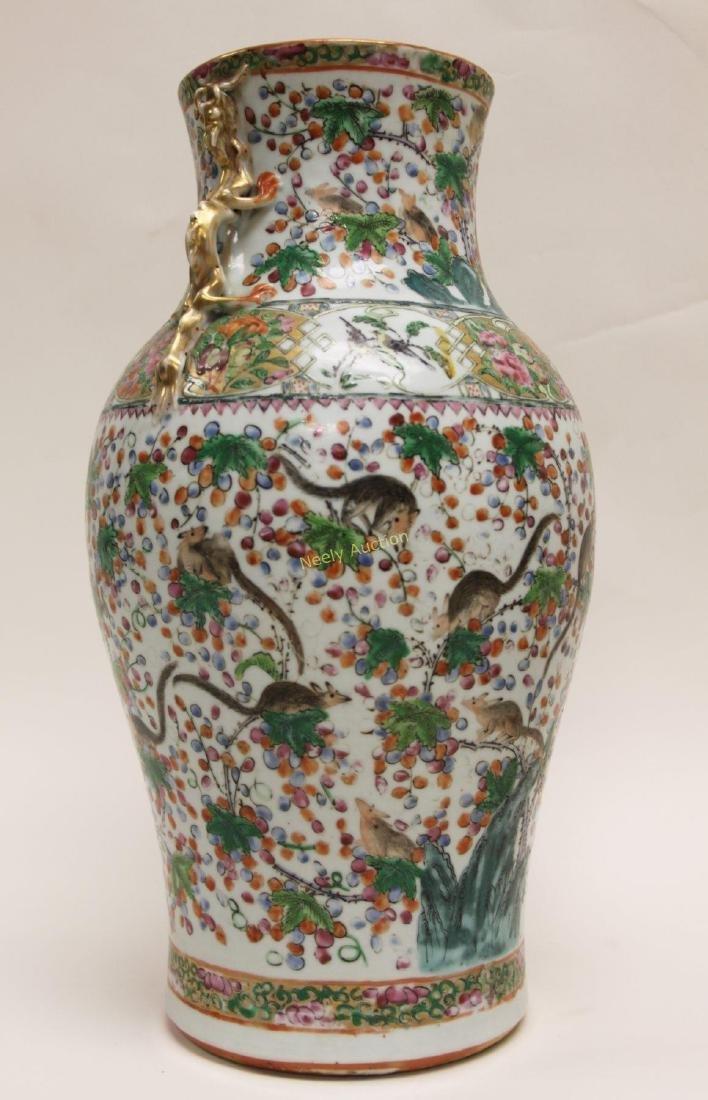 Pair Antique Chinese Famille Verti Dragon Vases - 10
